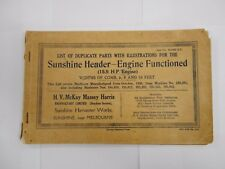 SUNSHINE HEADER - ENGINE FUNCTIONED  PARTS MANUAL / MASSEY HARRIS PTY AUSTRALIA