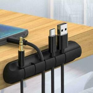 USB Ladekabel Halter Schreibtisch Kabel Winder Clips Organizer Management X8T1