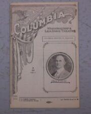 THE COLUMBIA WASHINGTON'S LEADING THEATER PROGRAM 08/28 1911 EDWIN H CURTIS