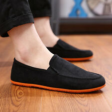 NEW Canvas Shoes Men's Casual Driving Comfort Loafers Breathability Flats Black