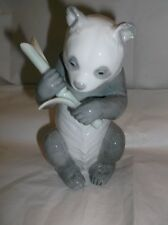 """Nao by Lladro Panda Bear Holding Bamboo Porcelain Figurine Made in Spain 6.5"""" T"""