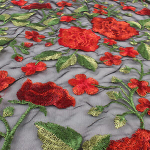 Thick Red Peony Flower Embroidery Lace Fabric Net Fabric Floral BY YARD