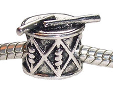 Drum Musical Instrument Music Band Toy Charm Bead for Silver European Bracelet