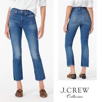 NEW J Crew Women's Billie Demi Boot Crop Raw Hem  Blue Jeans Size 27
