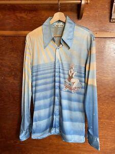 available VINTAGE 1970/'s Men/'s NIK NIK Nylon Navy Blue Shirt