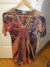 Women's ONE WORLD TUNIC TOP Blouse BEADED NECKLINE NWT MED
