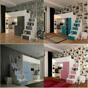 Etagenbett Kinderhochbett mit Schreibtisch Schrank Regal Matratze 80/190