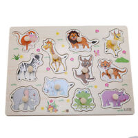 Kids Wooden Matching Zoo Animals Jigsaw Puzzles Toys Gifts for Toddlers Shan