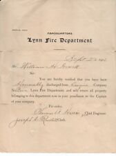 1906 Lynn Mass Fire Department Discharge Certificate for William Gowell