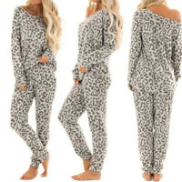 2Pcs Women Tracksuit Leopard Print Pants Sets Leisure Lounge Wear Suit