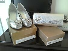 Silver shoes and matching bag size 4