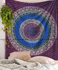 Indian multi mandala cotton tapestry wall  hanging king size bedspread blanket