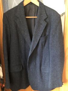 Vintage Harris Tweed 44L Jacket 100% Wool Navy Blue Herringbone Tailored Simon