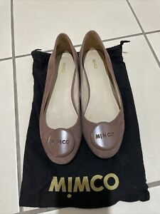 Mimco Libertine Ballet Flats Shoes - Red Taupe Sz 38 -Preown Great Cond Leather