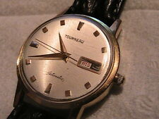 Gold toned Tourneau Automatic watch w/ day/date for PARTS