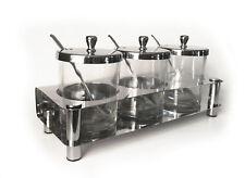 3pk Glass Seasoning Jars on Chrome Finished Stand Lid Spoon Chutney Spice etc
