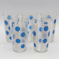 Vintage Set of 5 Blue Polka Dot Mid Century Highball Tumbler Water Glasses