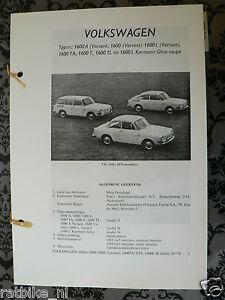 V26A-VOLKSWAGEN 1600 MODELLEN , L,TA,T,TL,L,VARIANT,KARMA GHIA COUPE 1970 MODELS