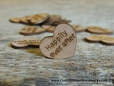 """100 qty 1"""" Happily ever after Wood Hearts Table Confetti Wooden Wedding Decor"""