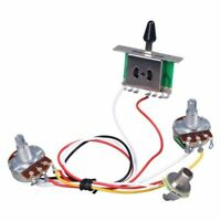 Guitar Pre-wired Harness, 3 Way Blade Toggle Switch 1V1T 500K for Electric Guita