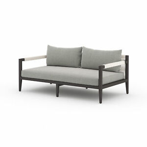 "63"" W Loreto Outdoor Rectangle Box Sofa Bronze Aluminum Grey Weather Resistant"