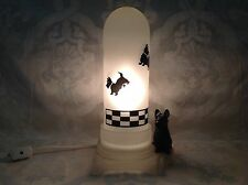1940 RARE Frosted Glass Scotty Dog Night Light Lamp w/Bullet Shade; Perfect