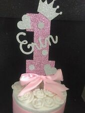 Personalised girls first birthday number one cake topper pink Girl 11st princess