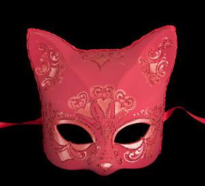 Masque de Venise Chat rouge florale Artisanat de Luxe Peint à la main 318 V49B
