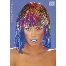 Multicoloured Rainbow Tinsel Wig Disco Diva Fancy Dress Hen Night Costume