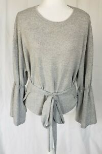 Anthropologie Gray Bell Sleeve Tie Sweater Super Soft Small