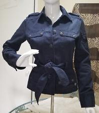 Safari Field Jacket J CREW Women X-SMALL Cotton NAVY Button Front Epaulettes