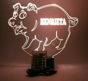 Pig Swine Hog Piggy Night Light Up Lamp LED Personalized Free Engrave and Remote
