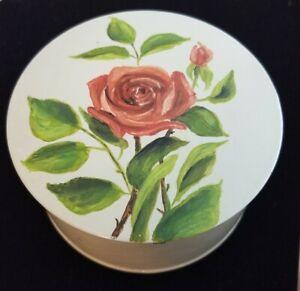 "Shabby Chic Hand Painted Rose -  Vintage Tin Powder 4"" x 2"""