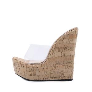 Women Peep Toe Wedge Sandals Sky High Platform Mules High Heel Shoes Slipper L