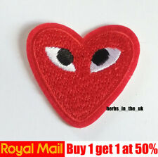 Red Love Heart Eyes Embroidered Iron On Sew On Patch Badge
