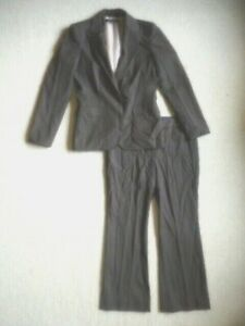 Womens Pant Suit-ANN KLEIN-brown/beige/gray striped wool blend lined long slv-6