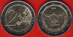 "Belgium 2 euro 2008 ""Declaration of Human Rights"" BiMetallic UNC"