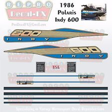 1986 Polaris Indy 600 Graphics Repro 11Pc Snowmobile incl Tunnel & IFS Decals