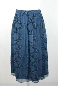 Burberry Women's Mineral Blue Silk Pleated Skirt w/snake Print 4030393 1004