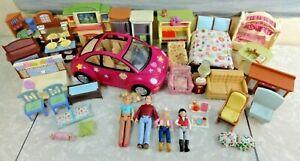 HUGE Fisher Price/Hasbro LOVING FAMILY Lot People Tons of FURNITURE Car L@@K