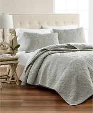 Martha Stewart Collection Silver Velvet Flourish Twin Quilt