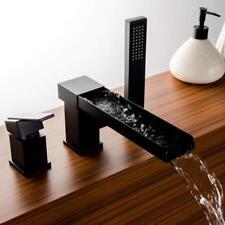 Oil Rubbed Bronze Widespread Bathtub Faucet Waterfall 3pcs Basin Tap W/Handheld