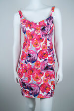MINT$395 *NANETTE LEPORE* Pink FLORAL Ruched Sweetheart MINI DRESS 2 XS S
