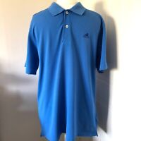 Men's Adidas Blue Clima 365 Polo Shirt Size L Short Sleeves Climalite Cotton