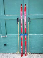 """A Very Interesting Vintage Wooden 62"""" Long Skis Red Finish Signed Cansport"""
