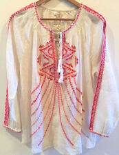 SUNDANCE CATALOG Lotus Roots Embroidered Pink Tunic LARGE Orig. $98 NWT!