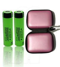 2 x Panasonic ncr18650b li-Ione Batteria 3,7v 3400mah con Zipper CASE ROSA