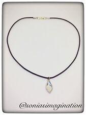 Swarovski Fire Charm Necklace, Violet Leather Choker Necklace