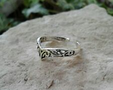 Adjustable Solid Sterling Silver Chevron Filigree Toe Ring
