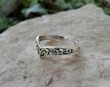 Chevron Filigree Toe Ring Adjustable Solid Sterling Silver